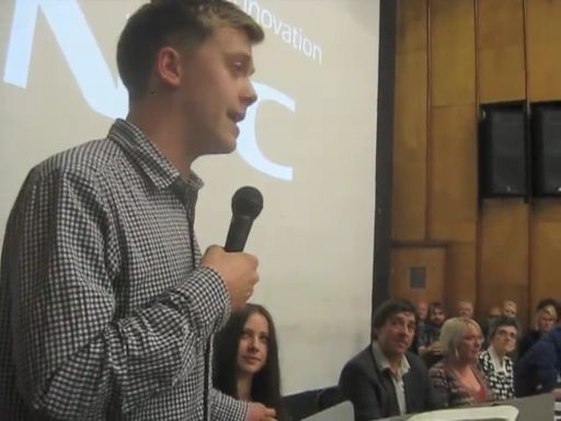 Owen Jones speaks at the first Manchester People's Assembly