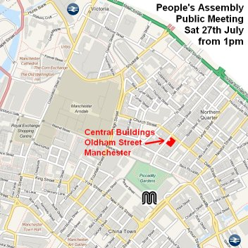 Manchester People's Assembly Venue Map for 27/7/2013